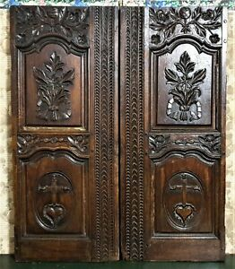 Pair 18 th the sacred heart panel door Antique french architectural salvage