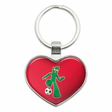 Sporty Gumby Soccer Ball Player Clay Art Heart Love Metal Keychain
