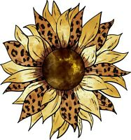 """3.5"""" Sunflower Leopard Print Sticker Petals Flower Summer Fall Harvest Bohemian"""