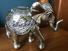 Silver Elephant Ornament Resin Figurine Elephants Statue Sculpture New & Boxed