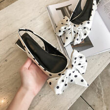 Women's Stylish Polka Dots Pointed Toes Bow-knot Slingback Flats Heels Shoes Sup