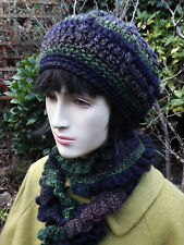 Long Frilly Crochet Scarf & Beret Set 50% Wool Purple & Green Wool Mix  HANDMADE