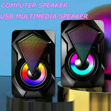 More details for surround sound system led speakers gaming bass usb wired for desktop computer pc