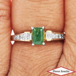 Estate Diamond Emerald 18K Gold Classic Ring NR