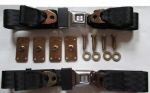 "Sunburst Musclecar HotRoad Lap Seat Belt Set (2) + Retrofit Mtg Kit: Black, 60"""