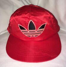 adidas Rare Vintage 1980s Trefoil Firebird Logo Red Shiny Satin Snapback Hat Cap