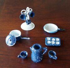 1:12 Dollhouse Blue Splatterware Set / 12 Metal Kitchen Dishes Pans Cups Pitcher