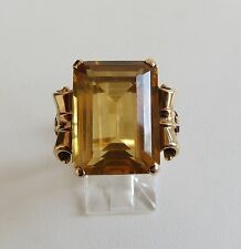 Retro Estate 14K Yellow Gold 11.6 ct Honey  CITRINE w/Ruby Accent Ring sz 6.5