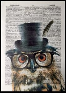 Owl Print Vintage Dictionary Page Wall Art Picture Bird Funny Animal Glasses