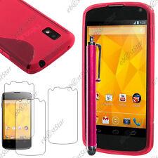 Housse Etui Coque Silicone S-line Rose LG Nexus 4 E960 + Stylet + 3 Film écran