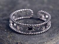 Silberring Stern Durchlöchert Schmal Ring Silber 925 Verstellbar Offen