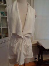 MYSTREE rayon & linen wrap shirt jacket women's size S collared white NWT $68