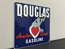 Douglas heart aviation gasoline  garage gas oil  advertising sign retro