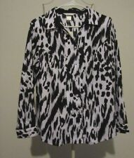 Christopher & Banks Black & Ivory Cotton Long Sleeve Button Shirt - Size PL NWT