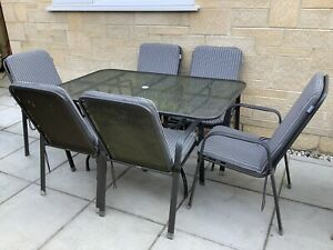 KETTLER BLACK METAL GARDEN TABLE & 6 CHAIRS INCLUDES SEAT CUSHIONS