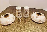 Vintage 50th Anniversary Porcelain Salt Pepper Set & Candle Holders LEFTON