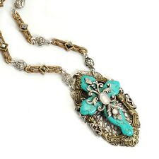 NEW SWEET ROMANCE VICTORIAN TURQUOISE CATHERAL CROSS NECKLACE ~~MADE IN USA ~~