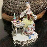 "Meissen Porcelain 5 1/4"" Taste Figurine 5 Senses Germany Woman Eating Excellent"