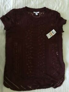Bar III Red V-Neck Mixed-Media Top Shirt SIZE S NEW