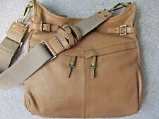 C. Lili by Coralie Charriol Leather Anais Messenger Crossbody Shoulder Bag- Nude