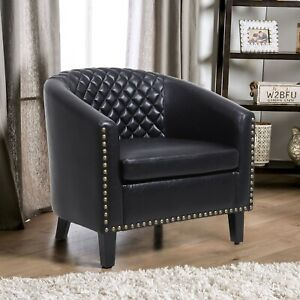 Three Colors Barrel Chair Living Room Chair with Nailheads and Solid Wood Legs