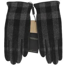 NEW BURBERRY BLACK LEATHER CHECK WOOL CASHMERE LINING GLOVES 8.5 TOUCH  SCREEN