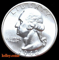 1948-S 25C Washington Silver Quarter BU