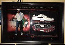 Tiger Woods Upper Deck Hologram Memorbilia Framed 19x29 Auto Nike Shoes #11/25