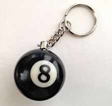 8 BALL POOL KEYRING SOLID BLACK BALL WITH KEYCHAIN Great Gift