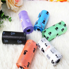 1Roll/15PCS Pet Dog Waste Poo Poop Bag Printing Degradable Clean-up Dispenser*-*