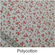 Poly Cotton Fabric - White with Ditzy Roses  - Polyester & Cotton Mix Metre NEW