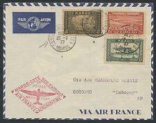 Lettre 1er vol MAROC 1937 Casablanca Dahomey Cotonou, Morocco first flight cover