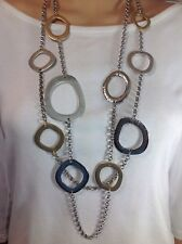 CHICO'S Mixed Metals/ Multi Chain Circle Necklace