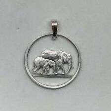 Elephants Cut Coin Necklace Pendant Somaliland 5 Shillings