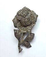 Vintage 925 Sterling Silver Large Heavy Marcasite Rose Flower Pin Brooch 25.4g