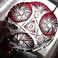Bohemian Czech Crystal Cranberry Cut To Clear Low Bowl Dish Pinwheel Sawtooth
