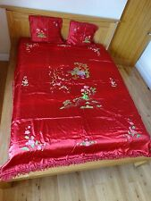 Bedding Throw Silk Satin Bedspread Double With Pillow Cushion Covers