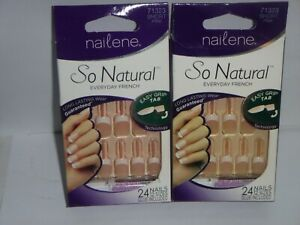 (2 pack) NAILENE SO NATURAL EVERYDAY FRENCH - SHORT PINK - 71323 - *no Glue**
