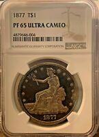 1877 T$1 Trade Dollar PR65 Ultra Cameo NGC - PF65UC Ultra Rare NGC Value $18,000