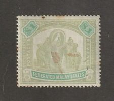 Malaya stamp, Federated Malay States #14, MH, nice but stain on front, CV $170