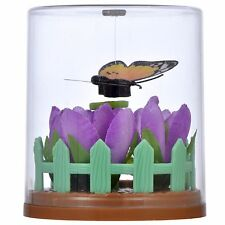 NEW Solar Powered FLUTTERING BUTTERFLY Monarch Purple Flower Garden TOY GIFT