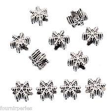10 Perles Européen Flocon de neige Noël Pour Bracelet Charms 14.5x13.5mm