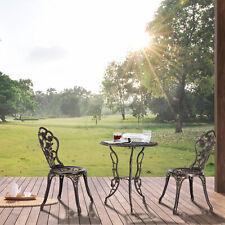 Gartenmöbel Tisch + 2 Stühle Set Garten Sitzgarnitur Antik Vintage Bistro Bronze