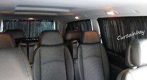VW T4 Curtains for 3 windows side windows barn doors tailgate blinds black