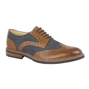 Mens Gatsby Brogues Shoes Lace Up Casual Smart Wedding Formal