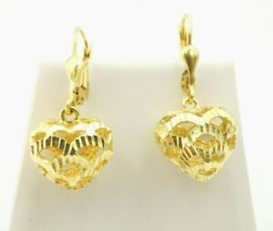 14K Yellow Gold Diamond Cut 3D Puffy Heart Dangle Leverback Earrings