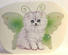 Himalayan White Kitten Cat w/ green wings Decal-Wings By Keith Kimberlin sticker