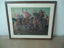 VINTAGE PRINT-ARNOLD FRIBERG-MOUNTIE AND INDIANS-LARGE-PROFESSIONALLY FRAMED