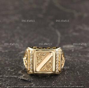 1.90 Ct Round Diamond Vintage Style Men's Signet Fashion Ring 14k Yellow Gold GP