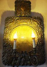 KÖNIG KRONE WAPPEN WANDBLAKER KIRCHEN ALTAR KERZEN LEUCHTER LAMPE antik 17. 18.?